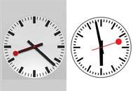 L'orologio disegnato da Apple (a sinistra) e quello tradizionale delle Ferrovie Svizzere, disegnato nel 1944 dall'ing Hans Hilfiker
