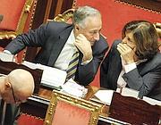 Il Ministro della P.a., Patroni Griffi, e quello della Giustizia, Severino, in Senato (Ansa)