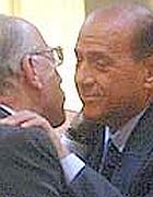 L'ex premier Silvio Berlusconi, 76 anni, con lo storico amico Fedele Confalonieri