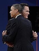Barack Obama e Mitt Romney (Ansa/Jim Lo Scalzo)