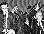 Fini e Rauti, durante l'elezione del secondo a segretario del MSI, 1990