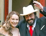 Nicoletta Mantovani e Luciano Pavarotti (Ansa)