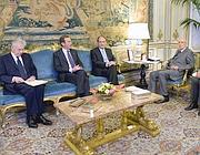 Il presidente Napolitano ha ricevuto i presidenti di Camera e Senato, e il premier Monti (Ansa)
