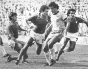 Da sinistra Giancarlo Antognoni, Claudio Gentile, Zico e Gaetano Scirea durante Italia-Brasile del 1982