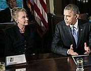 Hillary Clinton e Barack Obama (Ansa/ Kirkpatrick)