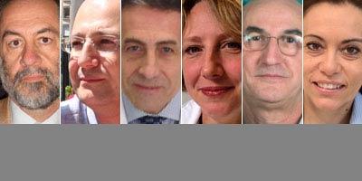 Gli esperti che rispondono al forum sulla Dermatologia pediatrica: da sinistra Gelmetti, Cambiaghi, Cavalli, Restano Cassulini, Tadini e Colonna