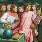 Un dipinto di Giorgio Vasari (1511-1574) che ritrae (da destra) Guido Cavalcanti, Dante Alighieri, Giovanni Boccaccio e Francesco Petrarca. Non è certa l'identità degli altri due personaggi