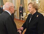Anna Maria Cancellieri e Giorgio Napolitano (Ansa)