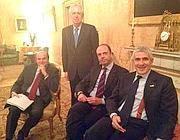Bersani, Casini e Alfano con il premier (Ansa)