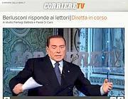 L'ex presidente del Consiglio Silvio Berlusconi risponde alle domande dei lettori della videochat Corriere.it