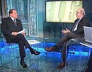 Nella foto Silvio Berlusconi e l'editorialista del Corsera Pierluigi Battista