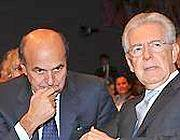 Pier Luigi Bersani e Mario Monti