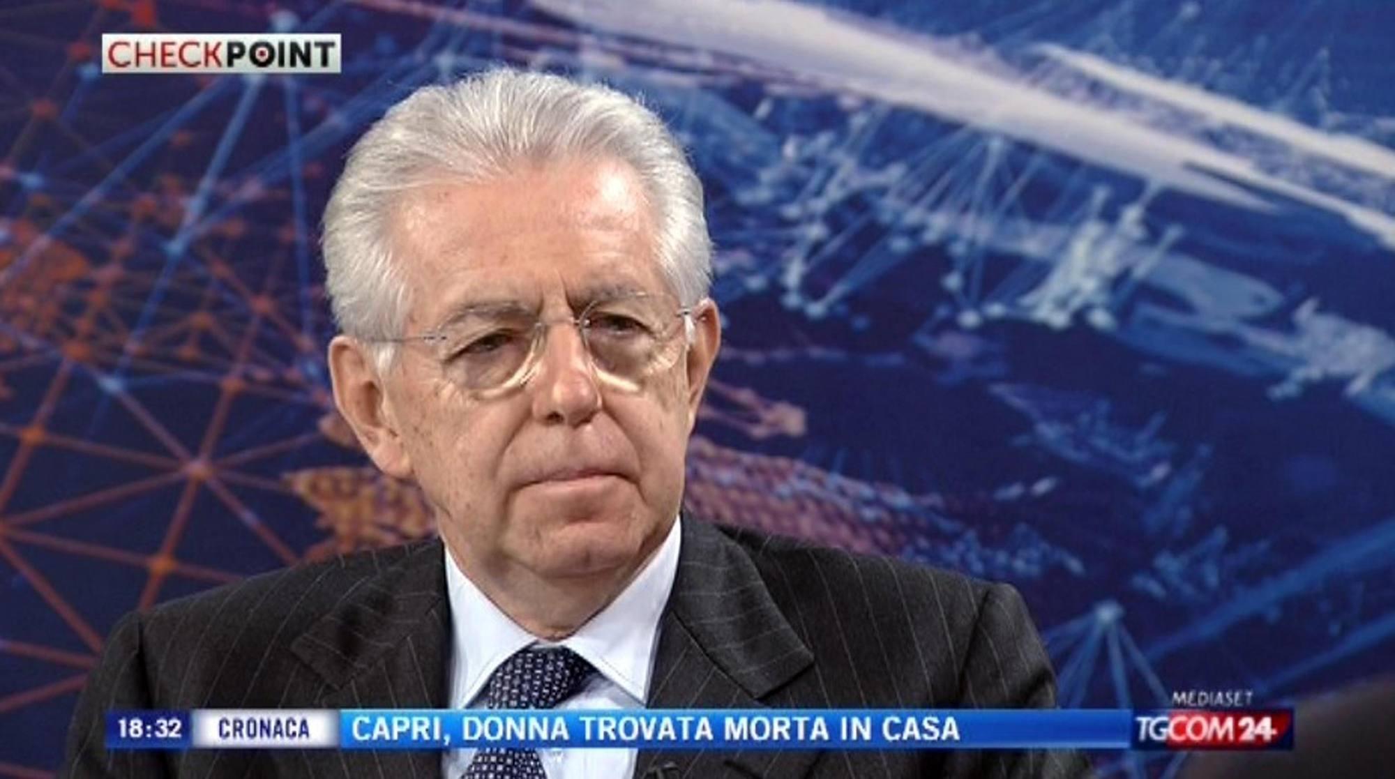 Il presidente del consiglio dimissionario Mario Monti a CheckPoint (Ansa)