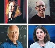 Da sinistra in alto, in senso orario: la poetessa americana Jorie Graham; il filosofo del cibo Michael Pollan; la ricercatrice Fabiola Gianotti; lo scienziato della «particella di Dio» Peter Higgs