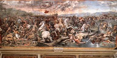 Giulio Romano, �La battaglia di Ponte Milvio�, Stanze di Raffaello, Musei Vaticani
