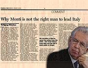 Monti e il «Financial Times» in un fotomontaggio Ansa