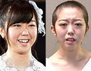 Minami Minegishi prima e dopo il drastico taglio ai capelli