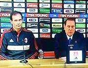 Allegri e Berlusconi in conferenza stampa (Ansa)