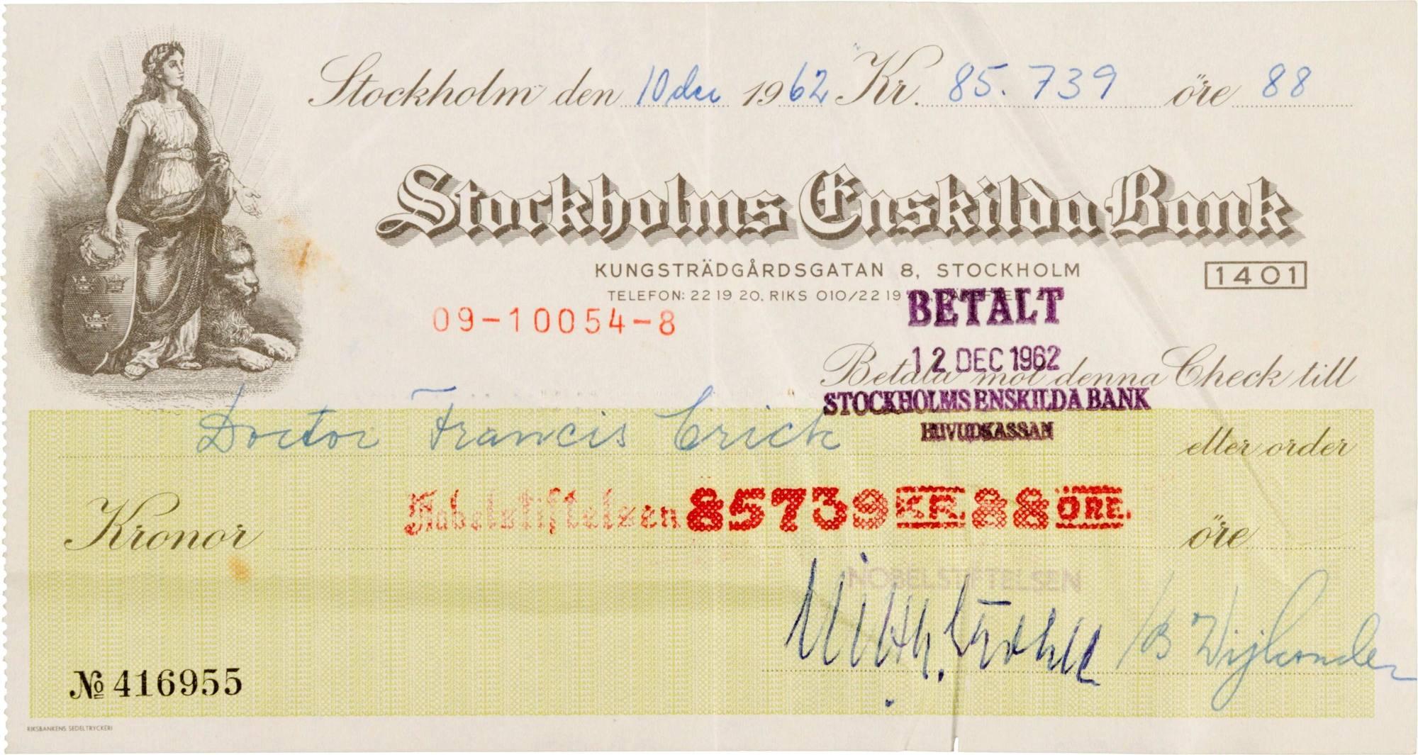 L'assegno del Nobel 1962 (Reuters)