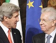 L'incontro tra  John Kerry e Mario Monti (Ap)