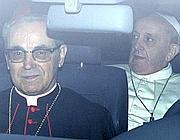 Papa Francesco al suo arrivo a Santa Maria Maggiore (Ansa)