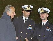 Massimiliano Latorre e Salvatore Girone davanti al tribunale Militare  di Roma (Ansa/Percossi)