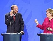 Letta e Merkel durante la conferenza stampa