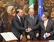 Da sinistra, Alfano, Letta e Micciché (Ansa)
