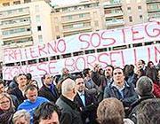 Lo striscione di sostegno ad Agnese Borsellino Parlermo