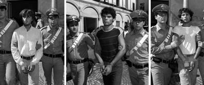 Da sinistra: Giuseppe La Rocca, Ciro Imperante e Luigi Schiavo il giorno dell'arresto, il 4 settembre 1983 (Ansa)