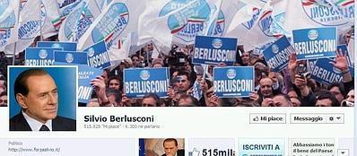 Uno scorcio del profilo Facebook di Silvio Berlusconi