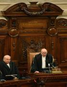 La lettura delle sentenza Mediaset fatta da giudice Esposito (Ansa)