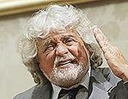 Grillo dopo l'incontro con Napolitano in luglio (Ansa)