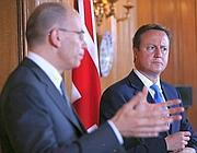 Enrico Letta e David Cameron (Ansa)