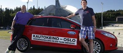 Knut Wilthil e Henrik Borchgrevink a Oslo, all'arrivo dell'ecoviaggio