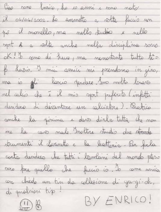 Enrico, 10 anni, Melendugno (LE)
