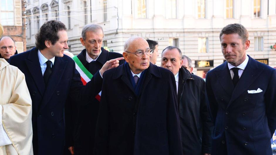Il presidente della Repubblica Giorgio Napolitano a Torino alla cerimonia di commemorazione per i 10 anni dalla scomparsa di Giovanni Agnelli (Olycom)
