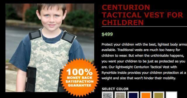 Dopo la strage di Newtown, negli Stati Uniti è stato messo in vendita da alcuni marchi l'equipaggiamento di difesa per i bambini: giubbotti anti-proiettile e speciali piastre da mettere nello zainetto