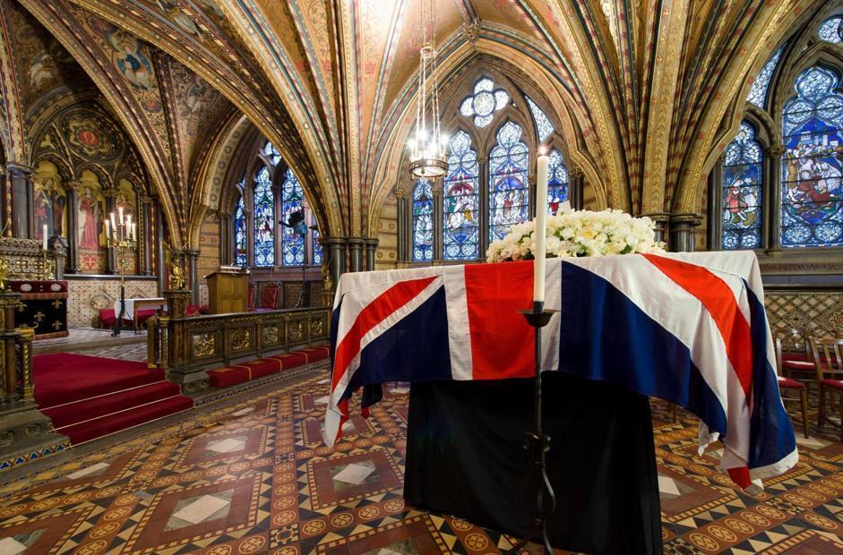 �?tutto pronto a Londra per i funerali dell'ex premier britannico Margaret Thatcher, morta l'8 aprile a 87 anni. La cerimonia � in programma nella cattedrale di Saint Paul (Epa/Neal)