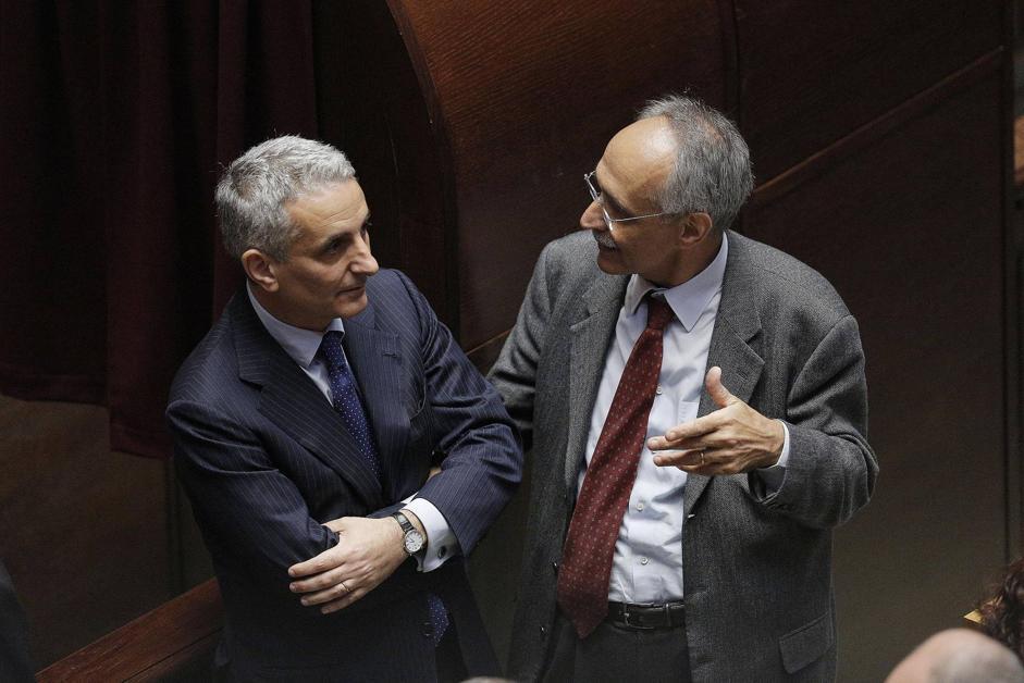 Gaetano Quagliarello conversa con Pietro Ichino (Ansa)