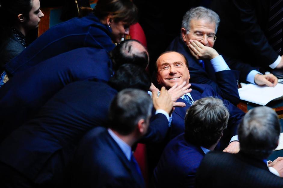 Silvio Berlusconi in aula dopo il sesto voto (IMAGOECONOMICA/STEFANINI)