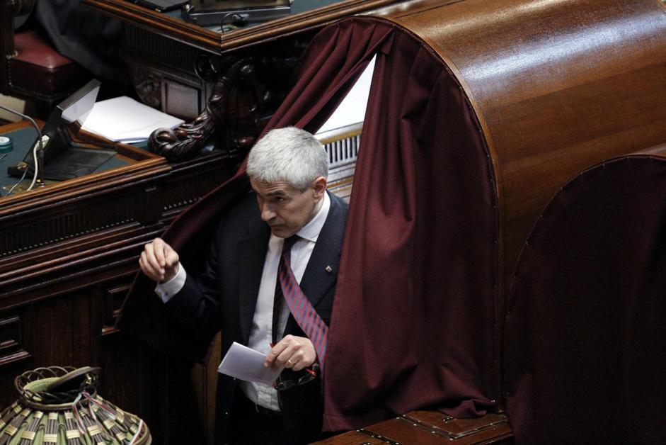 Pier Ferdinando Casini in Aula alla Camera, durante la sesta votazione per l'elezione del presidente della Repubblica (ANSA/LAMI)