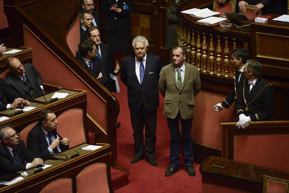 I senatori Denis Verdini (a sinistra) e Roberto Calderoli (Guido Montani/Ansa)