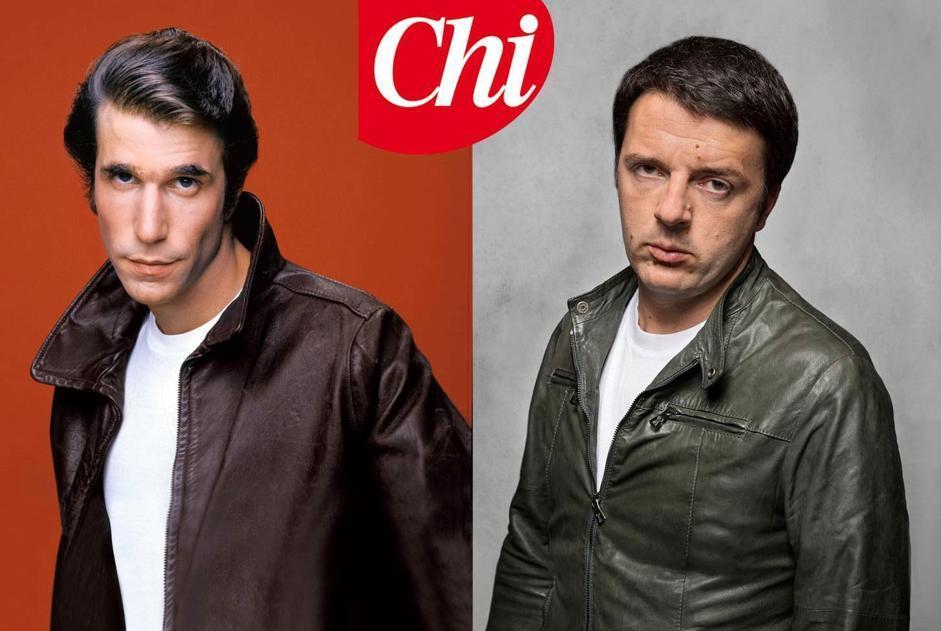Maglietta  bianca e giubbotto di pelle: il sindaco di Firenze Matteo Renzio su «Chi» in posa da Fonzie