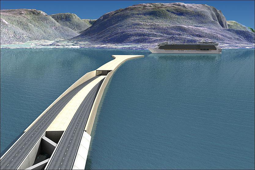 La soluzione «mista»: ponte galleggiante e tunnel subacqueo, più facile farci passare le navi (Statens Vegvesen)