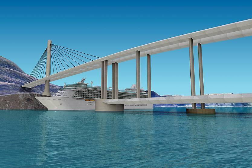 Il ponte su piloni galleggianti con uno «spazio» per il passaggio delle navi (Statens Vegvesen)