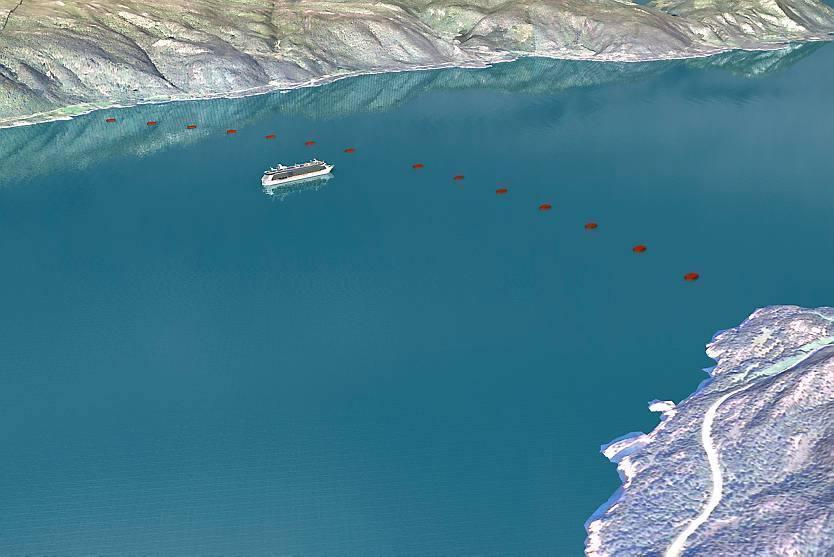 Il collegamento con tubi sottomarini - nei quali passano le corsie - sospesi a galleggianti (Statens Vegvesen)