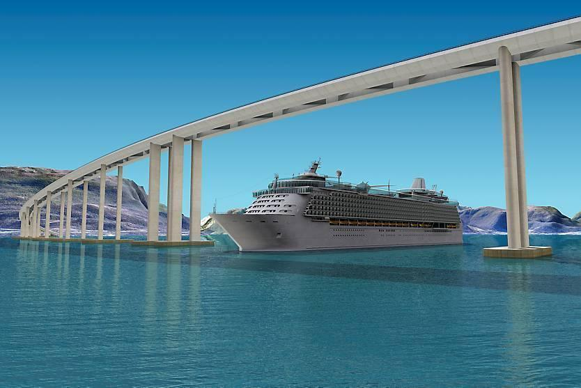 Il progetto di ponte di altezza graduale con spazio centrale per il passaggio delle navi (Statens Vegvesen)