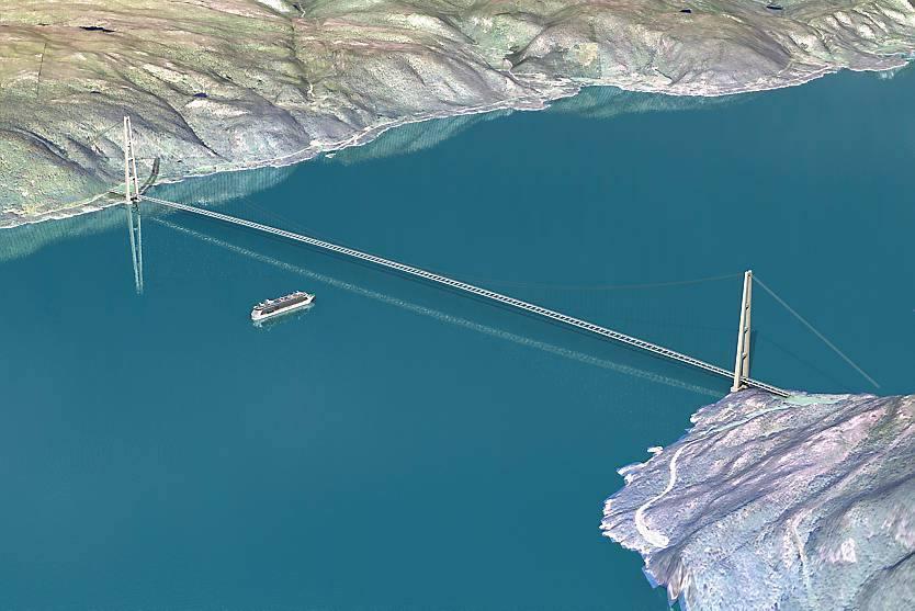 Il ponte sospeso «classico»: sarebbe il più lungo del mondo di questo tipo (Statens Vegvesen)