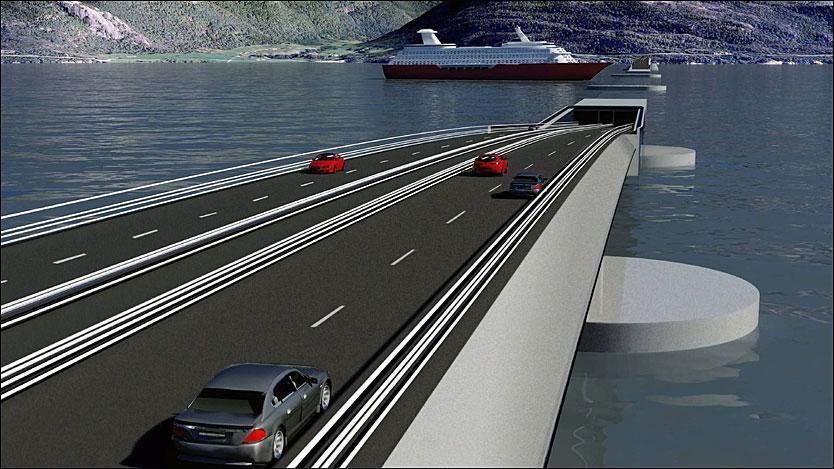 Il progetto «misto», ponte galleggiante + tunnel subacqueo in tubi a loro volta ancora a galleggianti (Statens Vegvesen)